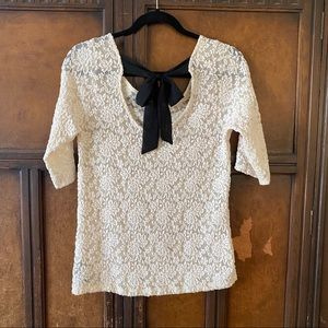 Forever 21 sheer cream Lace top black bow Large